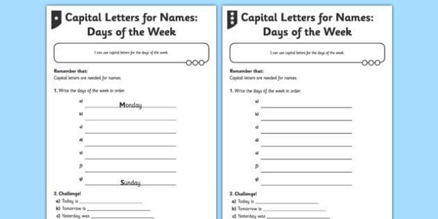 Capital Letters for Names Differentiated Activity Sheet Pack - GPS, punctuation, grammar, proper nouns, capital letter, worksheet