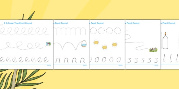 It Is Easter Time Pencil Control Sheets - it is easter time, easter, easter time, chocolate, bunny, pencil control