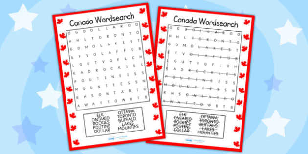 Canada Wordsearch - canada, countries, geography, word games