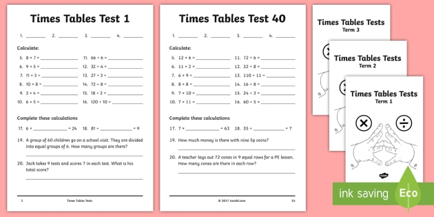 Year 4 Times Tables Tests Assessment Pack Multiplication