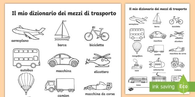 Il vocabolario dei mezzi di trasporto fogli da colorare i - Fogli da disegno per bambini ...