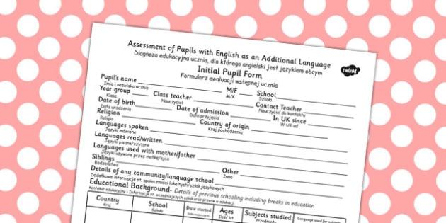 Polish Translation Initial Pupil Profile Form - polish, profile