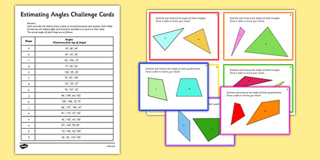 Estimating Angles Challenge Cards - estimating, angles, challenge, cards