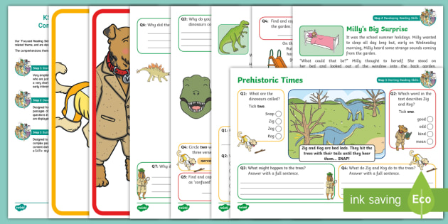 Ks1 Prehistoric Times Focused Reading Skills Comprehension Pack Year 1