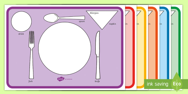 graphic regarding My Plate Printable Placemat known as Editable Plate and Cutlery Placemats With Allergy symptoms - plate