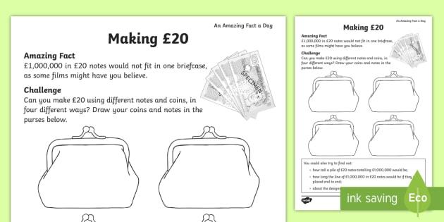 making 20 challenge worksheet activity sheet amazing fact. Black Bedroom Furniture Sets. Home Design Ideas