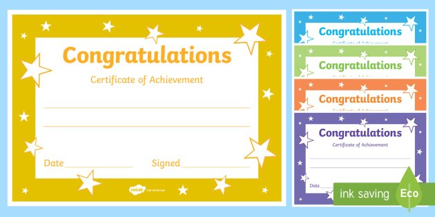 Editable Reward Certificates For Primary Classes Certificates Of