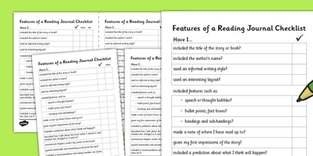 Features of a Reading Journal Writing Checklist - features, writing, checklist, journal
