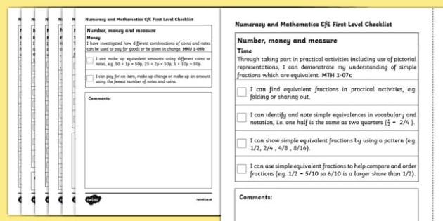 CfE First Level Numeracy and Mathematics Checklist-Scottish