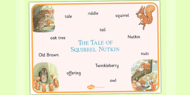 The Tale of Squirrel Nutkin Word Mat - squirrel nutkin, word mat