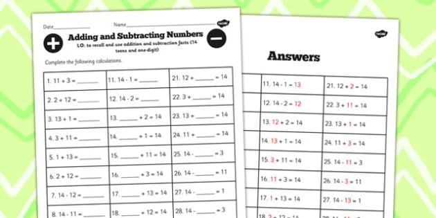 Number Facts to 14 Worksheet Teens Add One Digit - numbers, facts