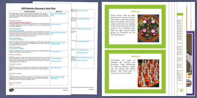 EYFS Nativity Discovery Sack Plan and Resource Pack - EYFS, Early Years, KS1, Key Stage 1, Christmas, Christianity, Jesus, Mary, Joseph, Bethlehem, Christmas story