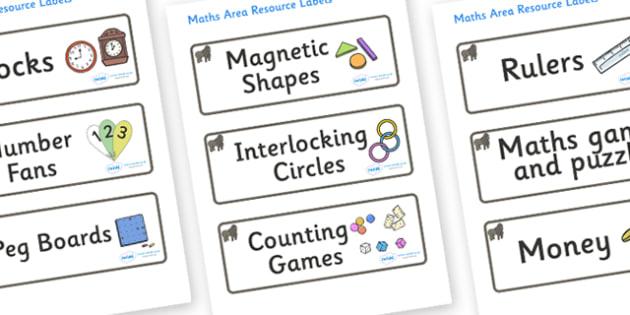 Gorilla Themed Editable Maths Area Resource Labels - Themed maths resource labels, maths area resources, Label template, Resource Label, Name Labels, Editable Labels, Drawer Labels, KS1 Labels, Foundation Labels, Foundation Stage Labels, Teaching Lab