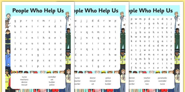People Who Help Us Differentiated Wordsearch - word search, game