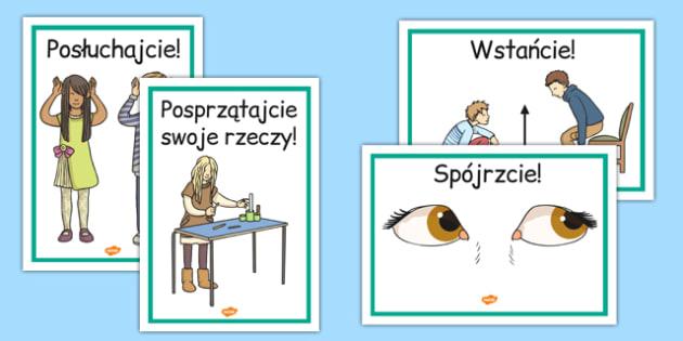 Plakaty Polecenia szkolne po polsku - zachowanie, wychowawcza