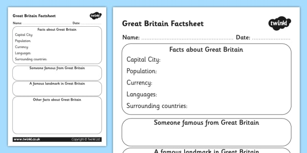 great britain factsheet writing template great britain great