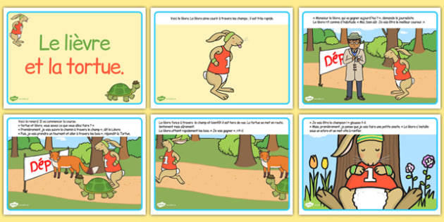 The Tortoise and The Hare Story French - french, story book, stories, visual aid