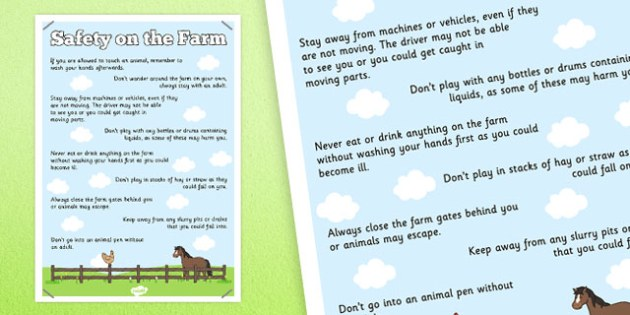 Safety on the Farm Poster - safety, farm, display poster, display