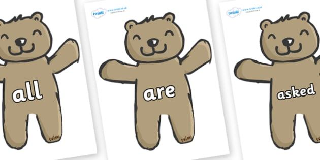 Tricky Words on Teddy Bears - Tricky words, DfES Letters and Sounds, Letters and sounds, display, words