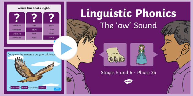 Northern Ireland Linguistic Phonics Stage 5 and 6 Phase 3b, 'aw' Sound PowerPoint