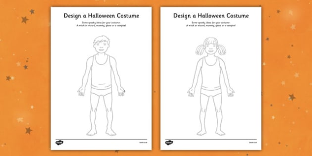 Design a Halloween Costume Worksheet / Activity Sheet - Design a Halloween Costume Worksheet, costume, design, worksheet, sheet, your own, Halloween, pumpkin, witch, bat, scary, black cat, mummy, grave stone, cauldron, broomstick, haunted house, poti