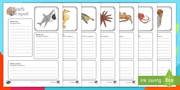 Italian English Animsld: Sea Creatures Factfile Worksheet / Activity Sheets (Under