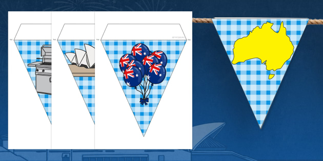 Australia Day Bunting - australia, bunting, day, display, class