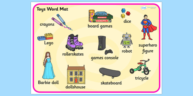 Toys Word Mat - Toys, word mat, writing aid, robot, doll, skateboard, games console, dice, jigsaw, games, dominos, marbles, pogo