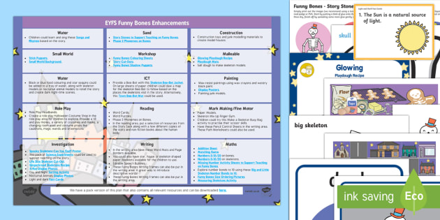 EYFS Enhancement Ideas and Resource Pack to Support Teaching on Funnybones - Early Years, continuous provision, early years planning, adult led, Funnybones, Funny Bones, Janet and Allan Ahlberg, skeletons, Halloween, planning