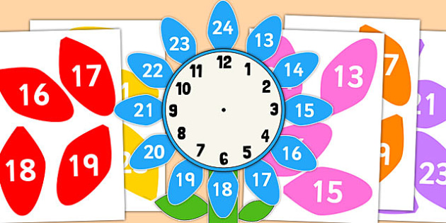 12 to 24 Hour Clock Label Flower - 12, 24, hour clock, clock