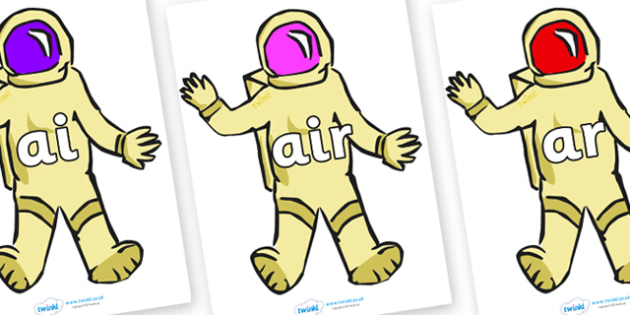 Phase 3 Phonemes on Astronauts - Phonemes, phoneme, Phase 3, Phase three, Foundation, Literacy, Letters and Sounds, DfES, display