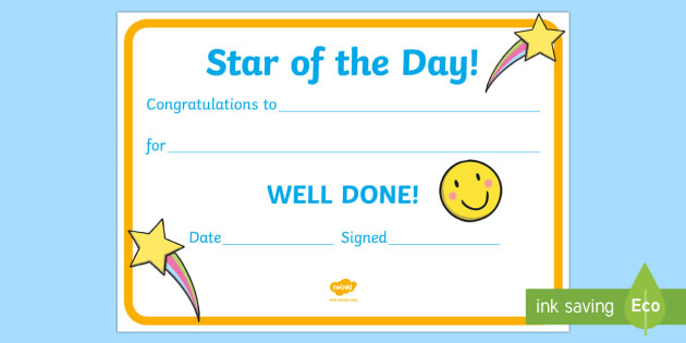 star of the day award certificate star of the day certificate foundation