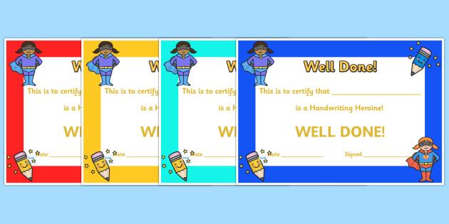 Handwriting Hero Certificate - handwriting, writing, certificate, award, well done, reward, hero, handwriting hero, special, literacy