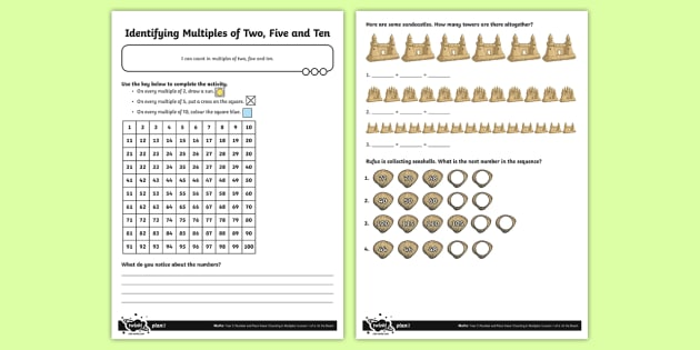 Seaside Themed Counting in 2s, 5s and 10s Activity Sheet - multiples, times tables, steps of, counting on, problem solving, year 3, fun maths, worksheet, hundr