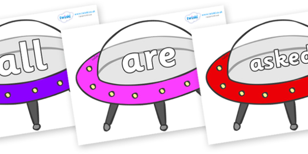 Tricky Words on Spaceships - Tricky words, DfES Letters and Sounds, Letters and sounds, display, words
