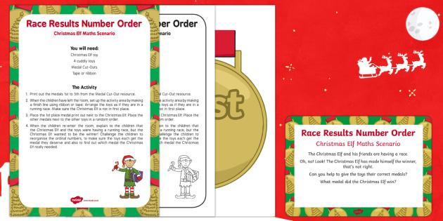 Race Results Number Order Christmas Elf Maths Scenario