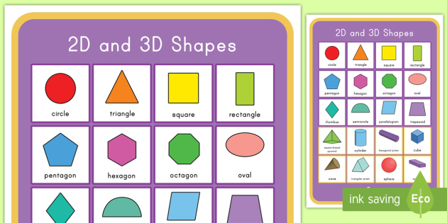 2D and 3D Shapes Display Poster - shapes, 2D, 3D, poster