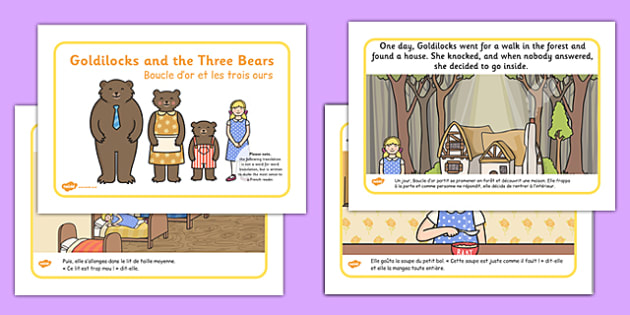 Goldilocks and the Three Bears Story French Translation - traditional, tale, stories, fairy, tale, french, MFL, France, Francais, translated, bilingual