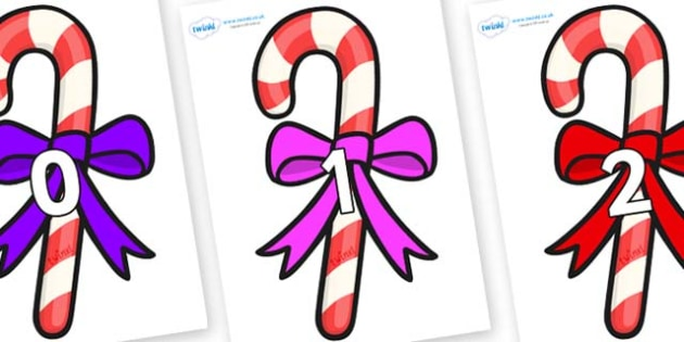 Numbers 0-31 on Candy Canes (Bows) - 0-31, foundation stage numeracy, Number recognition, Number flashcards, counting, number frieze, Display numbers, number posters