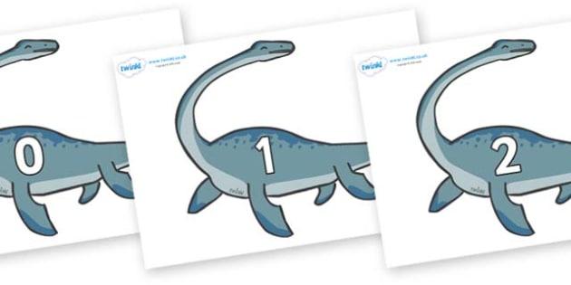 Numbers 0-31 on Plesiosaur - 0-31, foundation stage numeracy, Number recognition, Number flashcards, counting, number frieze, Display numbers, number posters