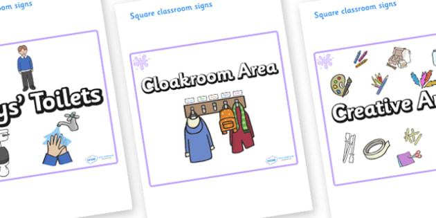 Lilac Themed Editable Square Classroom Area Signs (Plain) - Themed Classroom Area Signs, KS1, Banner, Foundation Stage Area Signs, Classroom labels, Area labels, Area Signs, Classroom Areas, Poster, Display, Areas
