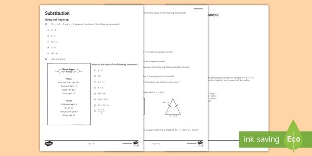 Ks3 Substitution Worksheet Activity Sheet Algebra