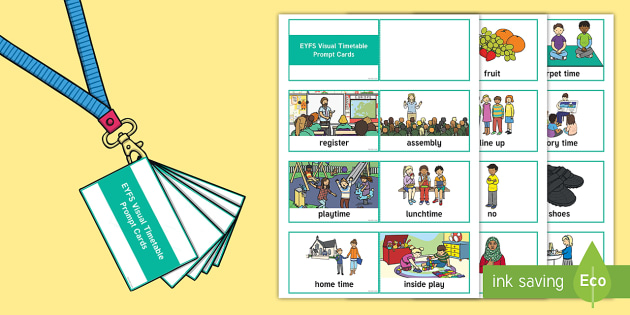 Lanyard-Sized EYFS Visual Timetable Prompt Cards - EYFS, Early Years, Nursery, FS1, Reception, FS2, Assessment Resources, SEN, special needs, visual ti