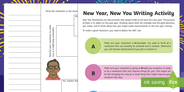 KS2 New Year, New You Writing Worksheet / Activity Sheet - KS2 writing activity, New Year resolutions, making resolutions, achievable, benefit of resolutions,