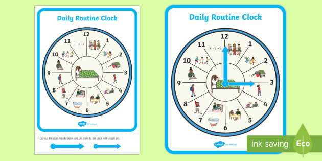 daily routine clock a4 display poster clock time daily. Black Bedroom Furniture Sets. Home Design Ideas