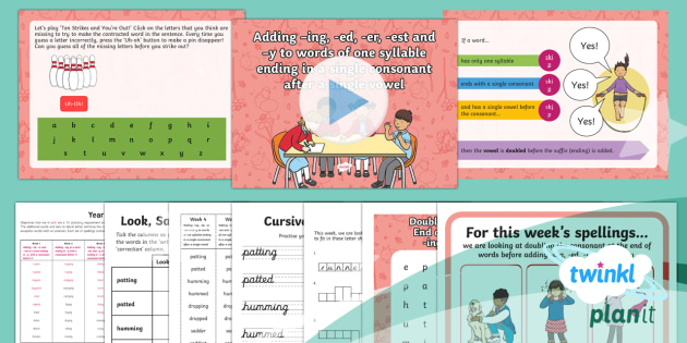 PlanIt Y2 Term 2A W4: Soubling the Consonant and Adding -ing, -ed, -er, -est, -y Spelling Pack - Spellings Year 2, Term 2A, week 4, suffixes, doubling consonants, ing, ed, er, est, y, double conson