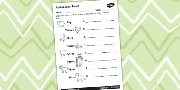 Farm Differentiated Alphabet Ordering Worksheet - a-z, order