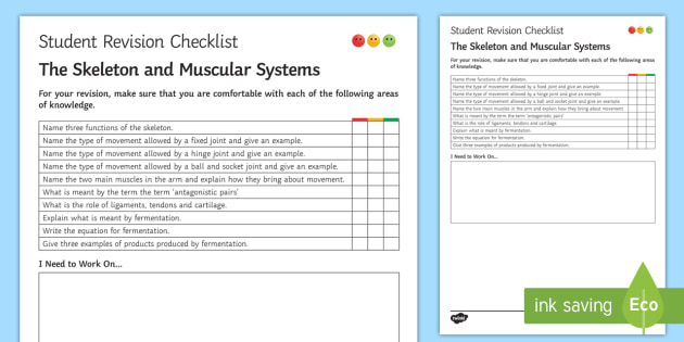 The Skeleton and Muscular Systems Student Revision Checklist - Student Progress Sheet (KS3), skeleton, muscles, hinge joint, fixed joint, ball and socket