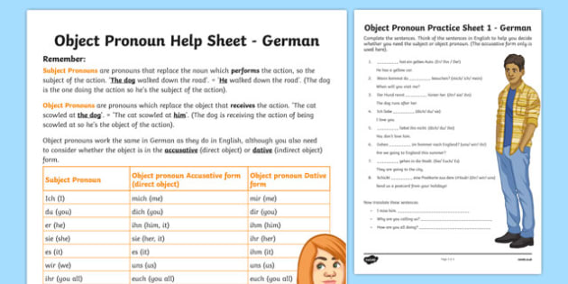 direct object pronouns worksheet activity sheet german worksheet. Black Bedroom Furniture Sets. Home Design Ideas