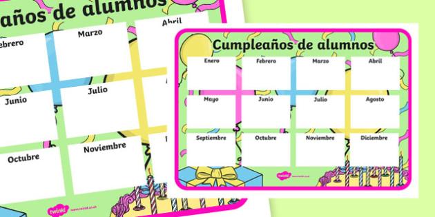 Cumpleaños de alumnos - spanish, ROI Teacher, Classroom Organisation, pupil birthday, display poster, record, teacher planning, Irish
